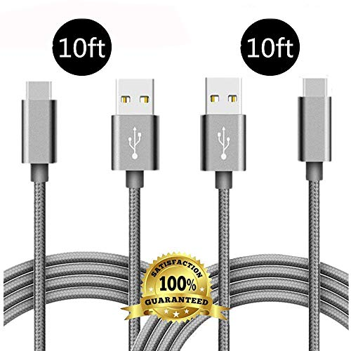 USB Type C Cable, Extra Long 2 Pack 10FT Braided Charging Cord FAST Charger Cable For Samsung Galaxy S9 S8 Plus,Google Pixel 2 3 XL,LG G7 ThinQ V30 V35,Moto Z3 G6 X4,ZTE Blade Z Max X