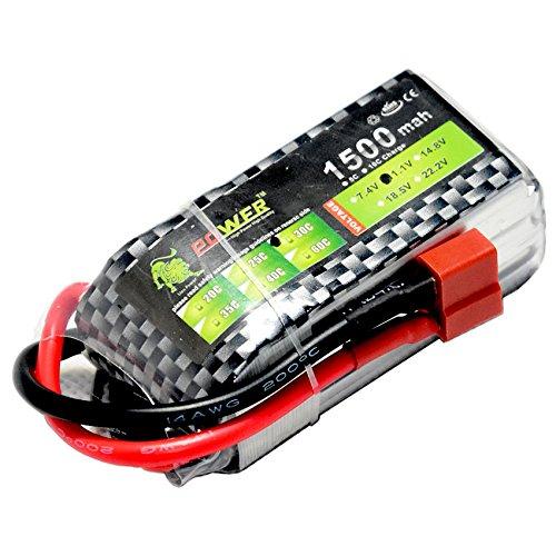 11.1V/3S 1500mAh 30C LiPO Battery T-plug