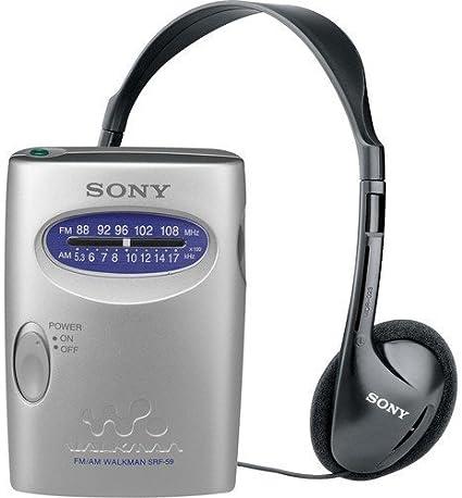Sony Walkman SRF-59 FM Stereo AM Radio w// Headphones /& Belt Clip NEW