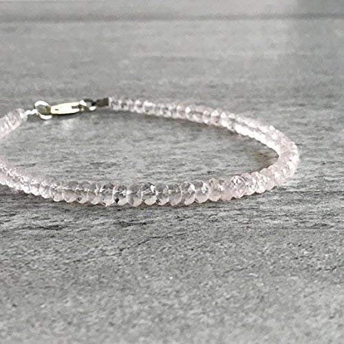 - Delicate Gemstone Bracelet | Faceted Rose Quartz Jewelry | Gift for Girlfriend, Wife | Pink Bead Bracelet | Gold or Silver Clasp 4 mm 7 inch Long by LadoNarayani