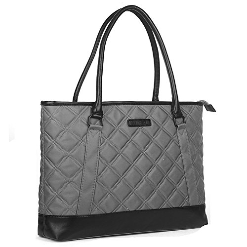 Laptop Tote Bag, DTBG 15.6 Inch Nylon Classic Diamond Pattern Travel Business Computer Shoulder Bag Carrying Briefcase Handbag For 15 - 15.6 Inch Laptop / Notebook/ MacBook / Ultrabook / Tablet,Grey