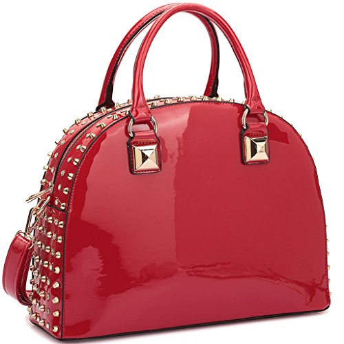 Dasein Patent Rhinestone Handbags for Women Studded Dome Zip Around Shoulder Bags Designer Purses, COLOR-RED