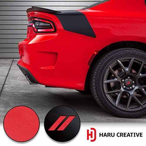 Haru Creative - Stripe Hash Rhombus Wheel Center Cap Overlay Vinyl Decal Sticker Compatible with and Fits Dodge Charger and Challenger 2017 2018 (no Wheel caps Included) - Matte - Overlay Center
