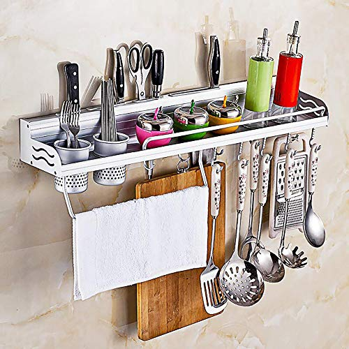 - Kitchen Organizers Pot Pan Rack Multifunctional 6-in-1 Kitchen Bookshelf Storage Rack with Bottle Rack Silverware Caddy Cutlery Blocks Hanger Hooks Pot Wall Mounted Aluminum (23inch 2Cups 10Hooks)