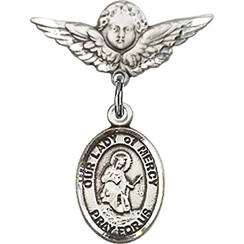 Sterling Silver Baby Badge with Our Lady of Mercy Charm and Angel w/Wings Badge Pin 7/8 X 3/4 inches by Unknown