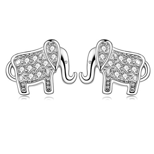 1 Pair 18G Stainless Steel Elephant Cubic Zirconia Stud Earrings Helix Cartilage Ear Piercings Women Girls (White)