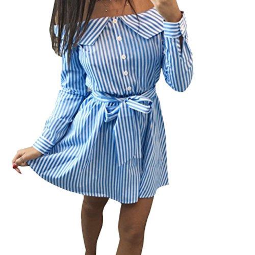 Spalla Poliestere A Providethebest Dress Up Abito Beach Donne Strisce Manica Di Lungo Fibra Fuori Mini Blu Button Ok8nwPX0
