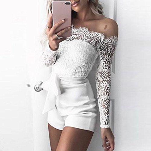 Alla Pizzo Pantaloncini Pagliaccetti Lacci Da E spalle Jumpsuit Corta Donna Pantaloni Moda Siamesi Autunno Cuciture Tuta Collo Con Bianco In Senza OwTx55