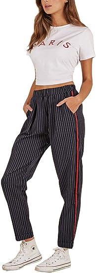 Yayun Calzoncillos Femeninos Pantalones De Moda Pantalones Altos Pantalones Rayados Dark Blue M Amazon Com Mx Ropa Zapatos Y Accesorios