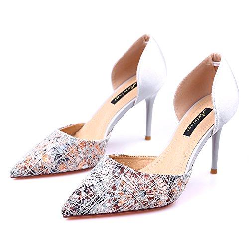 Tacones Mujeres Sandalias Solo gray Verano Flores Hueco Zapatos Rotas Punta Y KPHY Las De Primavera Sexy El Zapatos Satinado TwRPq