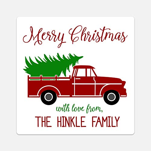 (Oh Baby! Stickers & More Personalized Christmas Tree Truck Gift Tags - Set of 20 Customized)