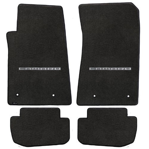Fits 2010-2015 Chevy Camaro 4pc Ebony Black Front & Rear Floor Mats Set with CAMARO Logo Embroidery in ()