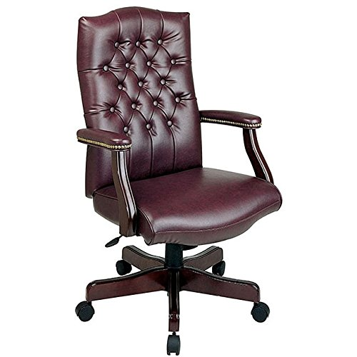 Office Star Thick Padded Vinyl Tufted High Back Traditional Executive Chair with Nailhead Accents and Mahogany Finish Base, Jamestown (Tufted Back Vinyl)