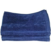 "Fingertip Towels 100% Cotton - Terry-Velour _4 _ Pack 11"" x 18"" _ Navy Blue."