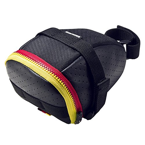BM WORKS Mini Saddle Bag Black Perforated Leather & Red/Yellow Color Zipper - Beautiful Bicycle Seat Bag, Light Weight-75g only ()