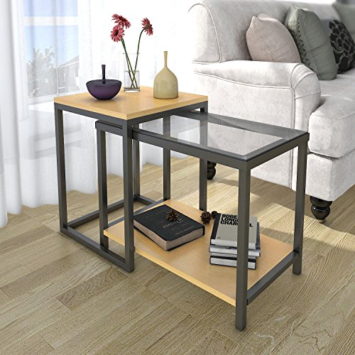 Lifewit 2-Piece End Table / Nesting Sofa Side Table Set / Coffee Accent Table - Transitional Accent Floor Lamp