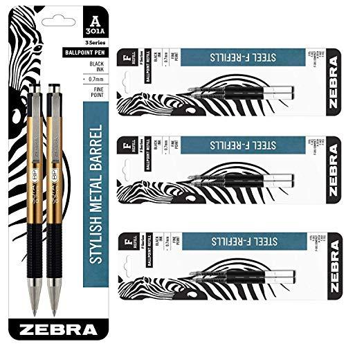 Zebra 301A Ballpoint Aluminum Retractable Pen, Fine Point, 0.7mm, Gold Barrel, Black Ink, 2-Count Bundle with 6 Pen Refills, 0.7mm