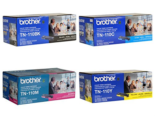 Brother TN110BK, TN110C, TN110M, TN110Y Black, Cyan, Magenta and Yellow Toner Cartridge Set 110 Laser Toner Cartridge