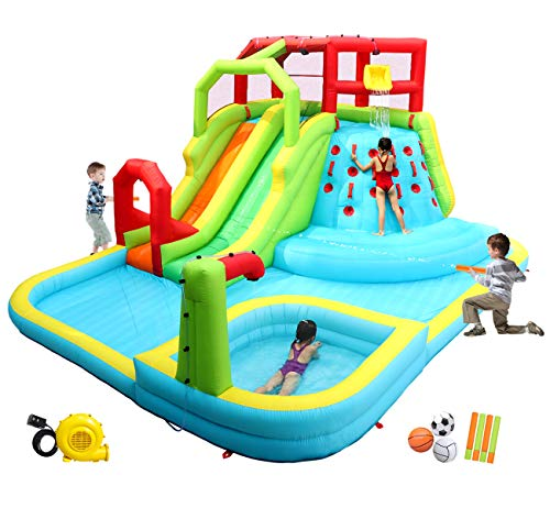 WELLFUNTIME-Inflatable-Water-Slide-Park-with-Splash-Pool-Climb-The-Wall-3-Inflatable-Sport-Balls-and-4-Water-Guns-Water-Slide-with-Air-Blower
