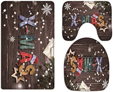 A.Monamour Old Wooden Planks Floor Colorful Xmas Letter Pine Tree Branch Snowflake Christmas Holiday Soft Flannel Bath Mat Rug Set Toilet Seat Covers Toilet Lid Covers Cushions Toilet Accessorie