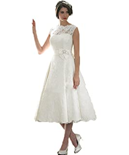 VIPbridal Lace Tea Length Wedding Dress Bridal Formal Party Pageant Gown