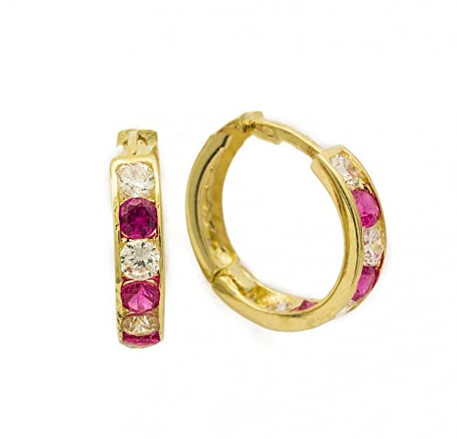 ASS 585 Gold Damen Kinder Ohrringe Creolen 10 mm mit Zirkonia rot, weiß