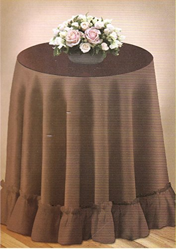 "70"" Round Decorator Tablecloth Fashion Solid Color Selection Woven Table Linen Ruffled Edge (Brown)"