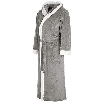 VJGOAL Invierno de Las Mujeres de Moda Casual Color sólido con Bata Pijamas Alargado de Manga Larga de Felpa Chal Albornoz Bata de Noche Bata de baño: ...