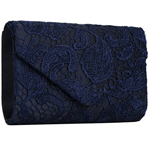 Jubileens Women's Elegant Floral Lace Envelope Clutch Evening Prom Handbag Purse (Navy blue)