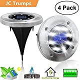 Solar Powered Ground Lights, 8 LED Solar Path Lights Outdoor Waterproof Garden Landscape Spike Lighting for Yard Driveway Lawn Pathway Walkway Disk Lights- White/Warm White (White, 4 Pack)