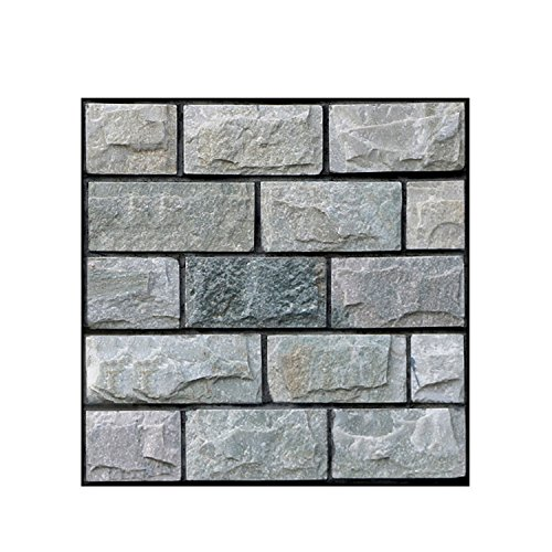1pc 30x30cm 3D Wall Sticker for Kitchen Removable Waterproof Gray Brick Stone Rustic Effect Self-adhesive Art Wallpaper - Wallpaper Kmart