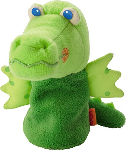 "HABA Finger Puppet Mini Green Dragon 5"" For Ages 18 Months a"