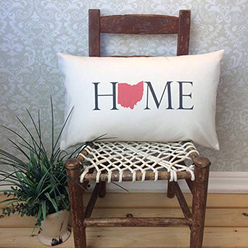 Georgia Barnard Ohio Pillow Cover, Long Pillow Case, Home Pillowcase, State Pillow Cover, Home Decor, House Warming Gift, House Warming Pillow Cover, Lumbar Cushion Case for Sofa Bed 12 x 20 Inch