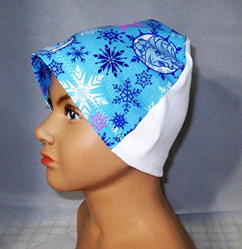 Children's Kids Blue Frozen Cap Chemo Hat Alopecia Head Cover Cancer Scarf