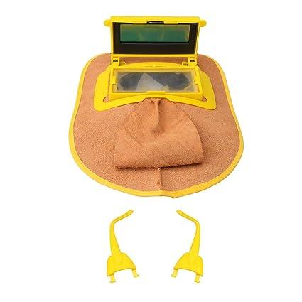 BQLZR - Casco de soldadura de piel de 26 x 21 cm con lente de filtro