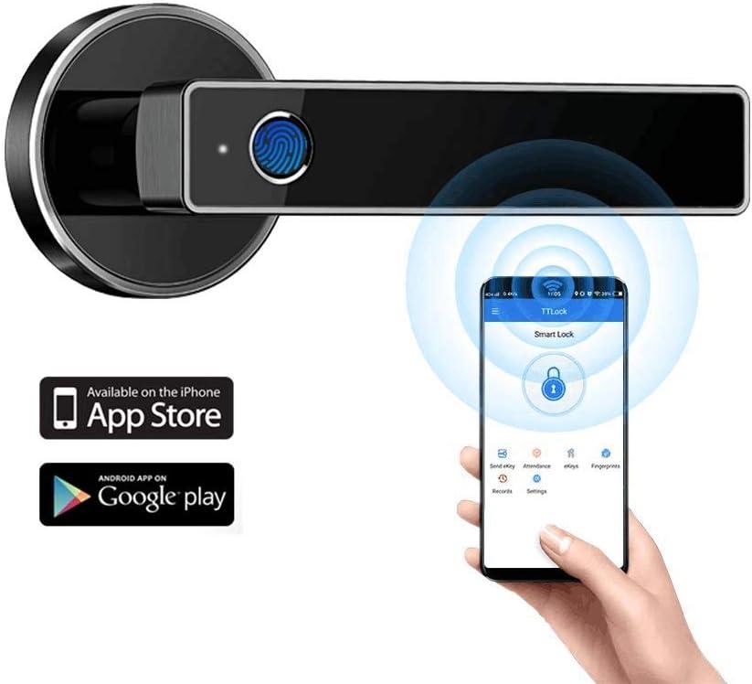 Tiffane Biometric Fingerprint Door Lock WiFi Bluetooth APP Security Simplified Door Lever Smart Door Lock (Black)