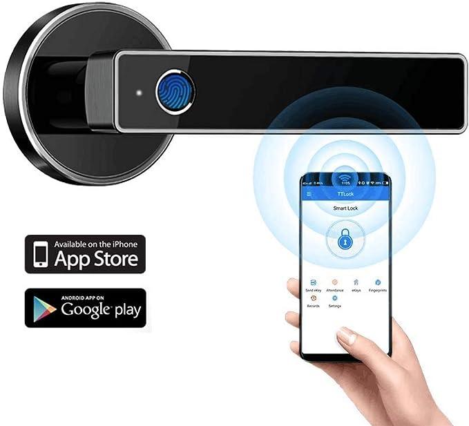 Tiffane Biometric Fingerprint Door Lock WiFi Bluetooth APP Security Simplified Door Lever Smart Door Lock (Black) - - Amazon.com