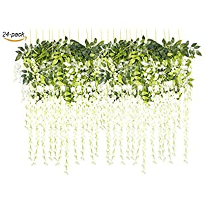 "ZKLKLO 43.2"" Artificial Silk Wisteria Vine Ratta Silk Hanging Flower for Garden Floral Decoration DIY Living Room Hanging Plant Vine Home Party Wedding 24 Pcs (White) 68"