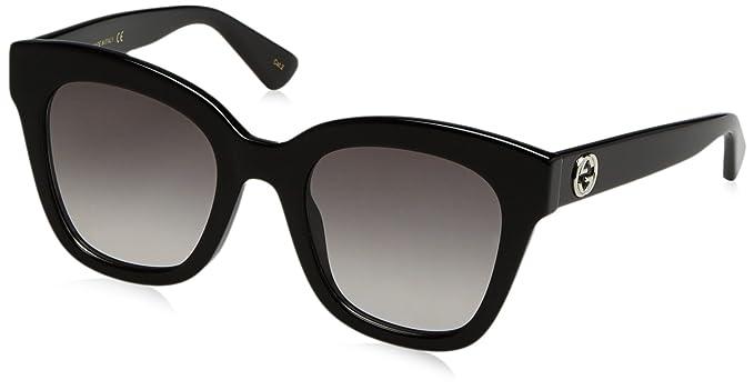 Gucci Damen Sonnenbrille GG0208S 001, Schwarz (1/Grey), 49