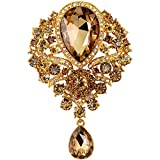 Bai You Mei Womens Classic Style Clear Glass Flower Brooch Pin Crystal Rhinestone Jewelry 11 Syles