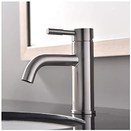 VCCUCINE Contemporary Single Handle Waterfall Bathroom Lavatory Vanity Vessel  Sink Faucet Tall Body, Brushed Nickel