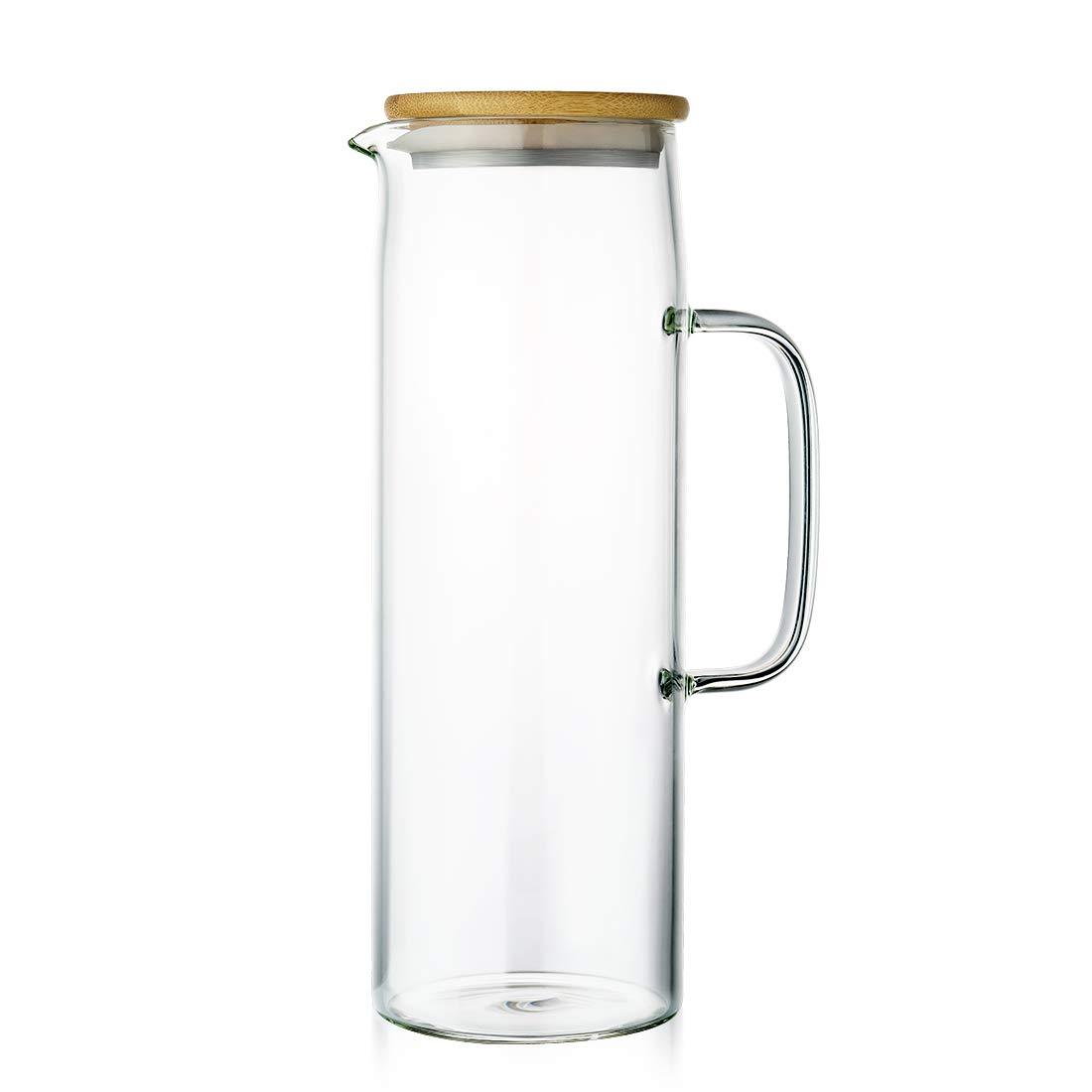 Acqua brocca caraffa in Vetro con infusore in Acciaio Inox con Coperchio Rimovibile Trasparente 1,3 l Vetro ZDZDZ borosilicato Vetro Acqua caraffa brocca per t/è