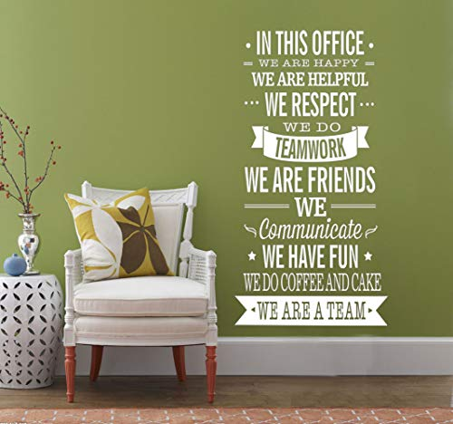 (Fymural English Letter Quotes Sticker - WE are A Team Wall Decal Vinyl Removable for Livingroom Office Home Mural Paper DIY Decals 17.7x35.4,White)