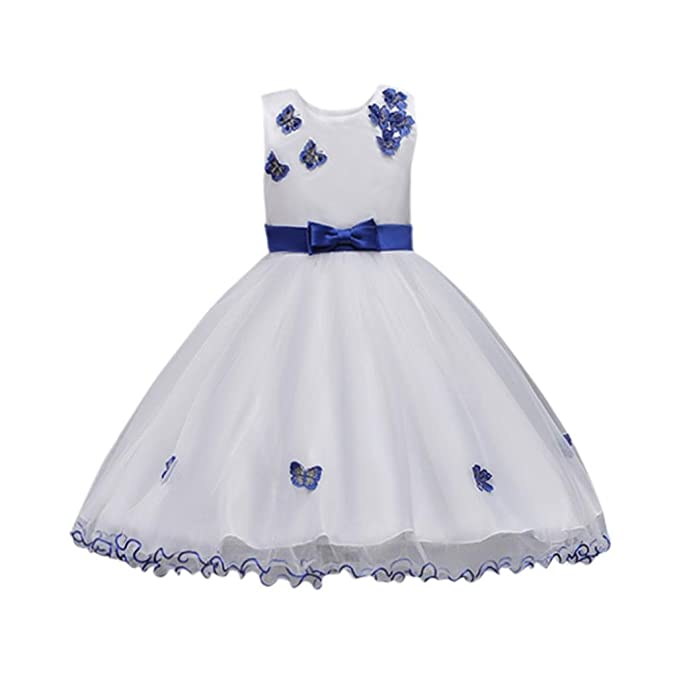 5932b3571ff1d Moonker Girls Dress,Baby Girl Sleeveless Bow Bridesmaid Pageant Gown  Birthday Party Wedding Dresses For