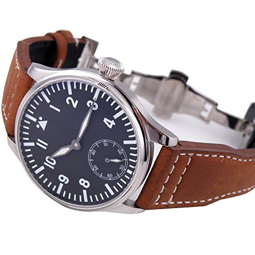 Parnis Black Dial Blue Luminous Mechanical Hand Winding Mens Womens Wrist Watches Brown Leather Strap