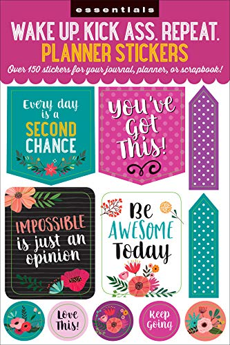 Essentials Planner Stickers — Wake Up Kick Ass Repeat (Set of 150 Stickers)