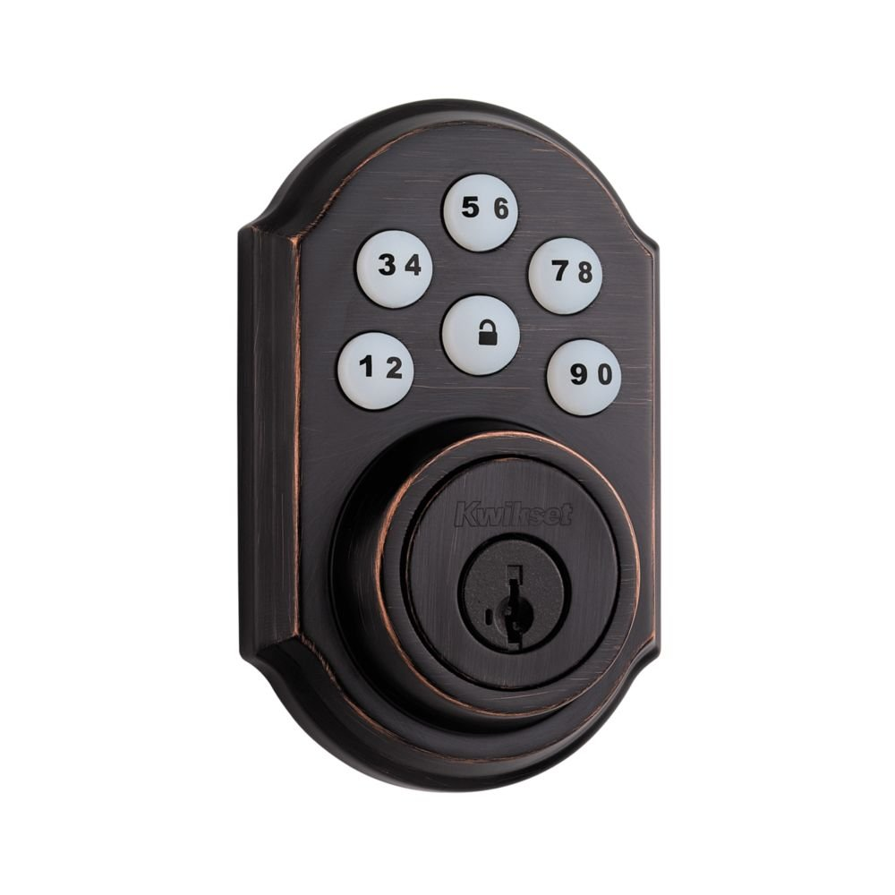 Kwikset 910 Z-Wave SmartCode Electronic Touchpad Deadbolt, Featuring SmartKey in Venetian Bronze, Works with Alexa via SmartThings