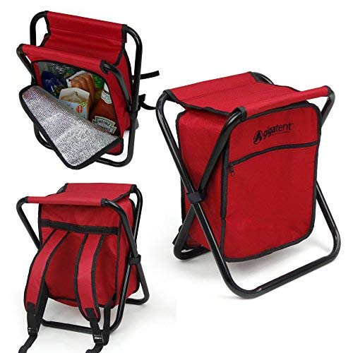 Folding Cooler and Stool Backpack - Multifunction Red Collapsible Camping Seat and Insulated Ice Bag with Padded Shoulder Straps - by GigaTent (Fishing Ice Seats)