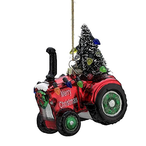 Kurt Adler 4 Inch Noble Gems Collection Tractor Glass (Noble Gems Glass Ornament)