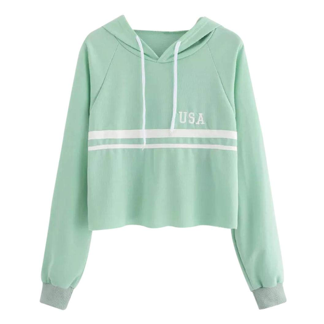 Women Hoodies,Ankola Women's Long Sleeve Letter Print Striped Patchwork Crop Top Hooded Sweatshirt (L, Green) by Ankola Women Hoodies (Image #1)